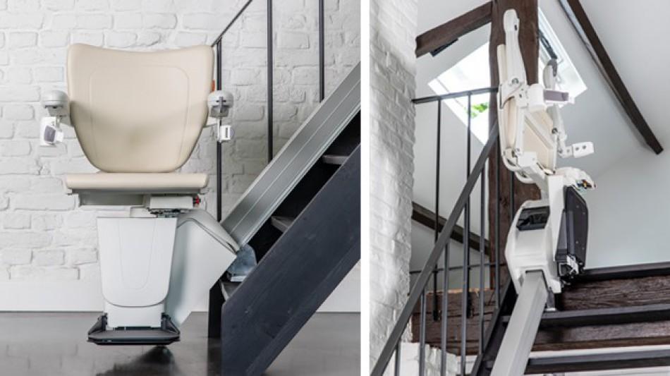 Silla salvaescaleras muy pequeña y estrecha que no ocupa espacio en la escalera